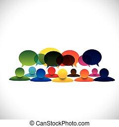 Concepto vector de la gente hablando en grupo o hablando de empleados