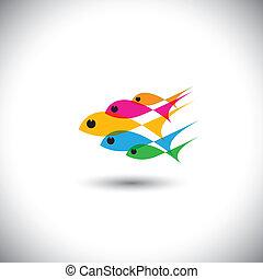 Concepto vector de liderazgo: Equipo colorido de peces unidos
