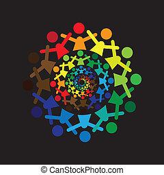Concepto vector gráfico. Niños pintorescos y pintorescos juntos