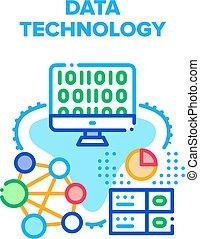 concepto, vector, ilustración, datos, tecnología, color