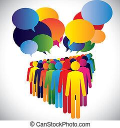 concepto, y, comunicación, compañía, -, vector, interacción, empleados