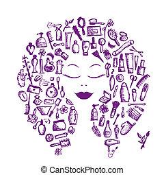 Conceptos cosméticos, accesorios femeninos en la cabeza de la mujer para tu diseño