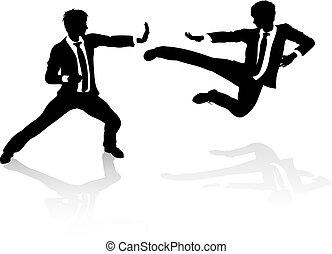 Conceptos de competición de negocios, gente peleando
