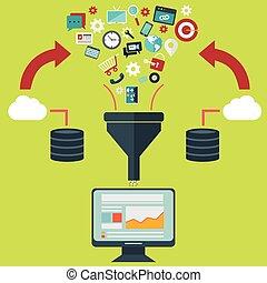 conceptos de ilustración plana para el proceso creativo, gran filtro de datos, túnel de datos, concepto de análisis
