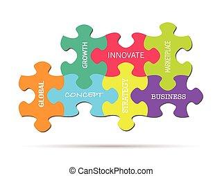 Conceptos de negocios de rompecabezas