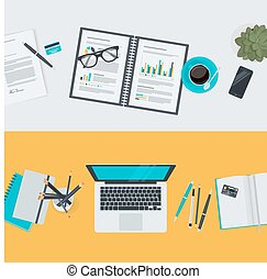 Conceptos planos de diseño para el espacio de trabajo