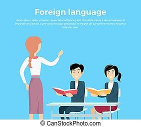 conceptual, bandera, aprendizaje, idioma, extranjero