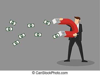 conceptual, imán, ilustración, caricatura, vector, dinero