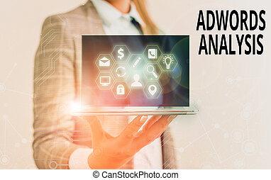 conceptual, inversión, ensuring, texto, adwords, señal, analysis., campañas, actuación, foto, regresos, monitor, ads.