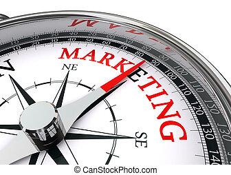 conceptual, mercadotecnia, palabra, compás
