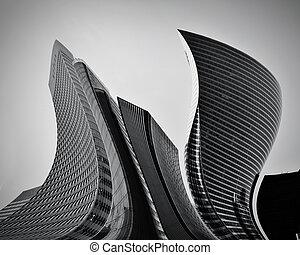 conceptual, resumen, rascacielos, empresa / negocio, arquitectura