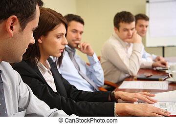 conceptual, trabajo, cinco, businesspeople