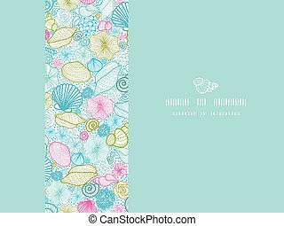 Conchas de mar, línea de arte horizontal decorativas decorativas sin marcas