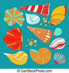conchas marinas, océano, arena, plano, diseño, caricatura, boho, ornamentos, elemento, azul, garabato, ornamento, conjunto, fondo., habitantes