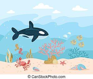 conchas, océano, arena, mano, estrellas de mar azules, habitantes, ballena, peces, ondas, caricatura, submarino, plano de fondo, dibujado, agua, fondo, alga, seahorse, ilustración, vector, corales, escollos