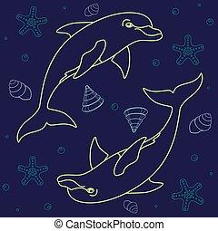 conchas, patrón, océano, delfines, clásico, inhabitants., seamless, estrellas de mar, mar, fondo., dolphins., azul, vector