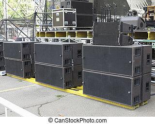concierto, altavoces, viejo, powerfull, equipo, audio, etapa