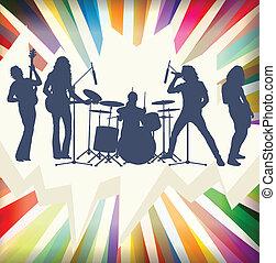 concierto, explosión, vect, ilustración, banda, siluetas, plano de fondo, roca
