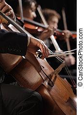 concierto, violoncelo, arriba, mano, sinfonía, cierre, juego, hombre