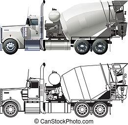 concreto, camión, batidora