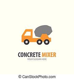 concreto, logotype, simple, diseño, batidora, logotipo, idea, empresa / negocio, company.