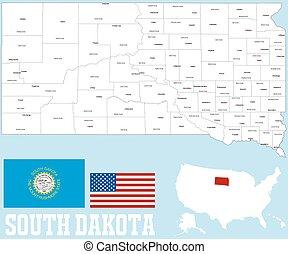 condado dakota, sur, mapa