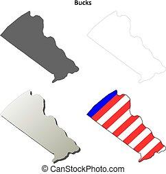 Condado de Bucks, Pensilvania esbozo de mapas