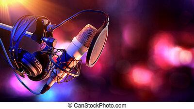 condensador, equipo, micrófono, estudio, vivo, grabación