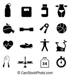 condición física, conjunto, dieta, icono