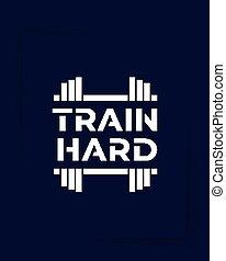 condición física, motivación, gimnasio, vector, cartel, duro, tren
