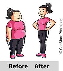 condición física, mujer, después, antes