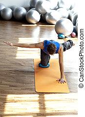 condición física, -, pilates, practicar, hombre