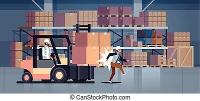 conductor, trabajador, interior, accidente, fábrica, peligroso, habitación, almacén, logístico, golpear, transporte, horizontal, colega, carretilla elevadora, concepto, herido, almacén