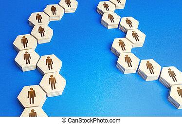 conectado, información, interacción, exchange., communication., reacción, sociedad, personas., extensión, collaboration., cadenas, rumores, assistance., cooperación, persons., unidad, cadena