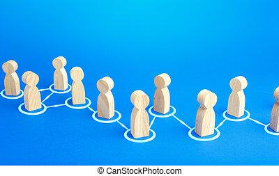 conectado, interacción, communication., collaboration., cadena, sociedad, información, unidad, assistance., persons., exchange., personas., rumores, cooperación, reacción, extensión