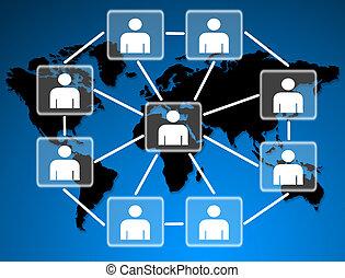 conectado, social, juntos, network., modelos, humano