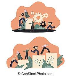 conectar, trabajo en equipo, gente, artículos del rompecabezas