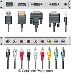 conectores, vector, vídeo, audio