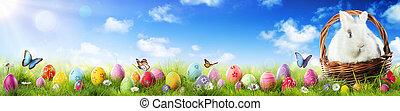 conejito, hierba de pascua, adorable, huevos, cesta