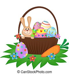 Conejo de Pascua con huevos pintados en la canasta