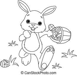 Conejo de Pascua escondiendo huevos coloreando pagina