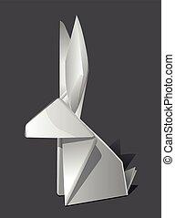 conejo pascua, conejito, liebre, origami, papel