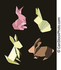 Conejos Origami preparados