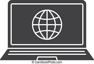 conexión, computador portatil, glyph, red, icono