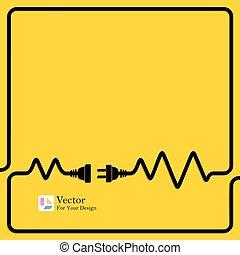 conexión, concepto, electricity., desconexión