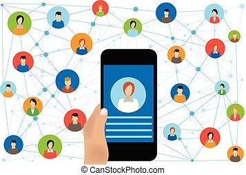 Conexión de redes sociales para negocios en línea