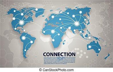 Conexión del mapa del mundo vector