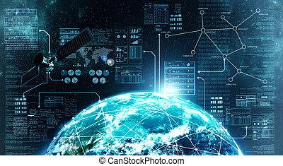 conexión, exterior, internet, espacio