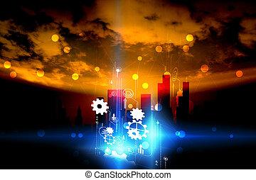 Conexión mundial. Red social, concepto de tecnología digital