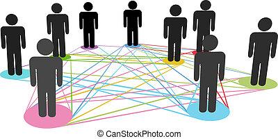Conexiones de colores, gente de negocios sociales